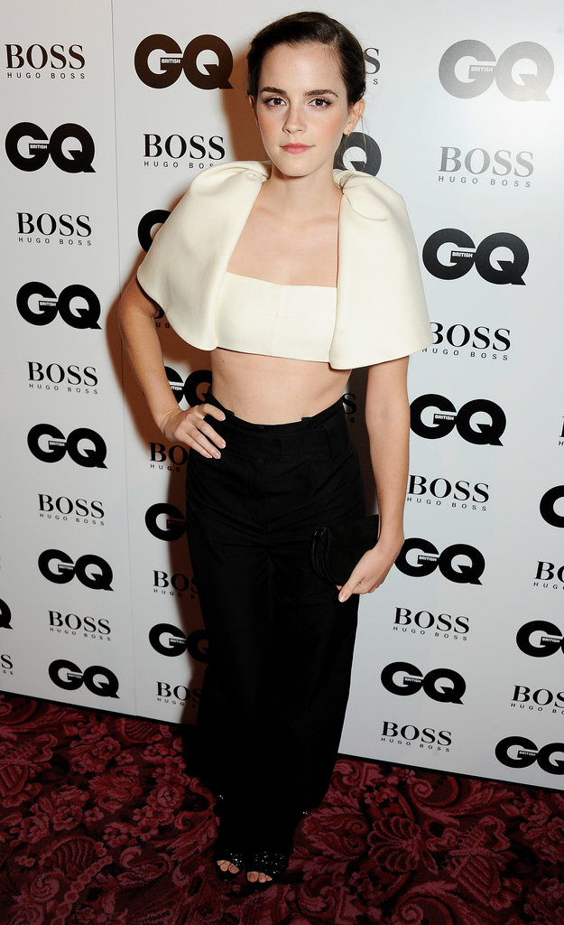 Emma Watson wore a crop top and high-waisted pants at the GQ Men of the Year Awards in London.
