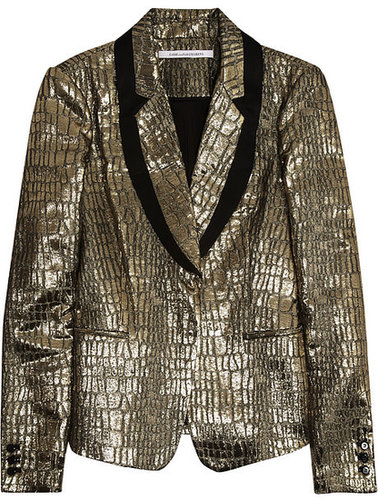 Diane von Furstenberg Ofelia croc-embossed metallic blazer
