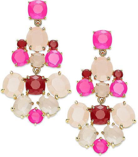 kate spade new york Earrings, Gold-Tone Pink Stone Chandelier Earrings