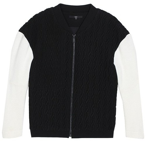 Patchwork Cable Bomber Jacket