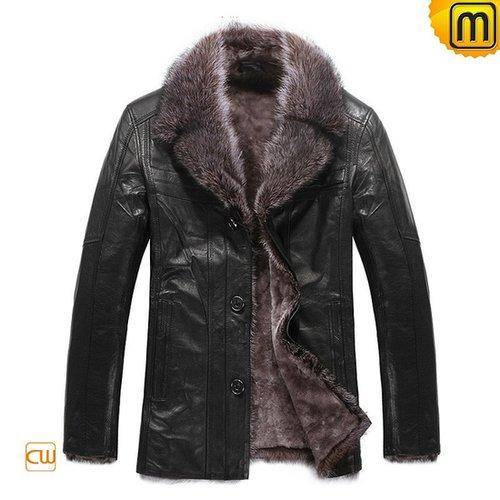 Mens Black Leather Fur Coat CW819068