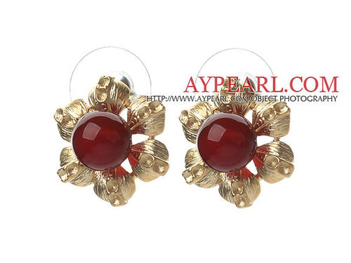 Elegant Style Carnelian and Golden Color Metal Flower Stud Earrings