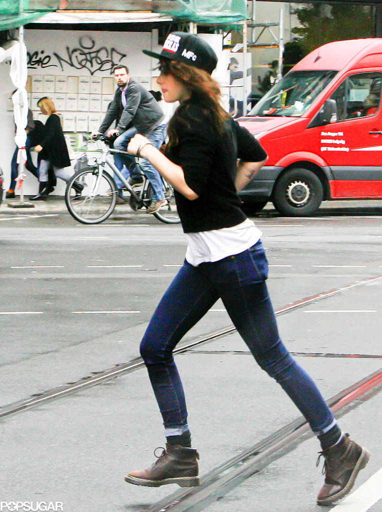 Kristen Stewart jogged in Berlin.