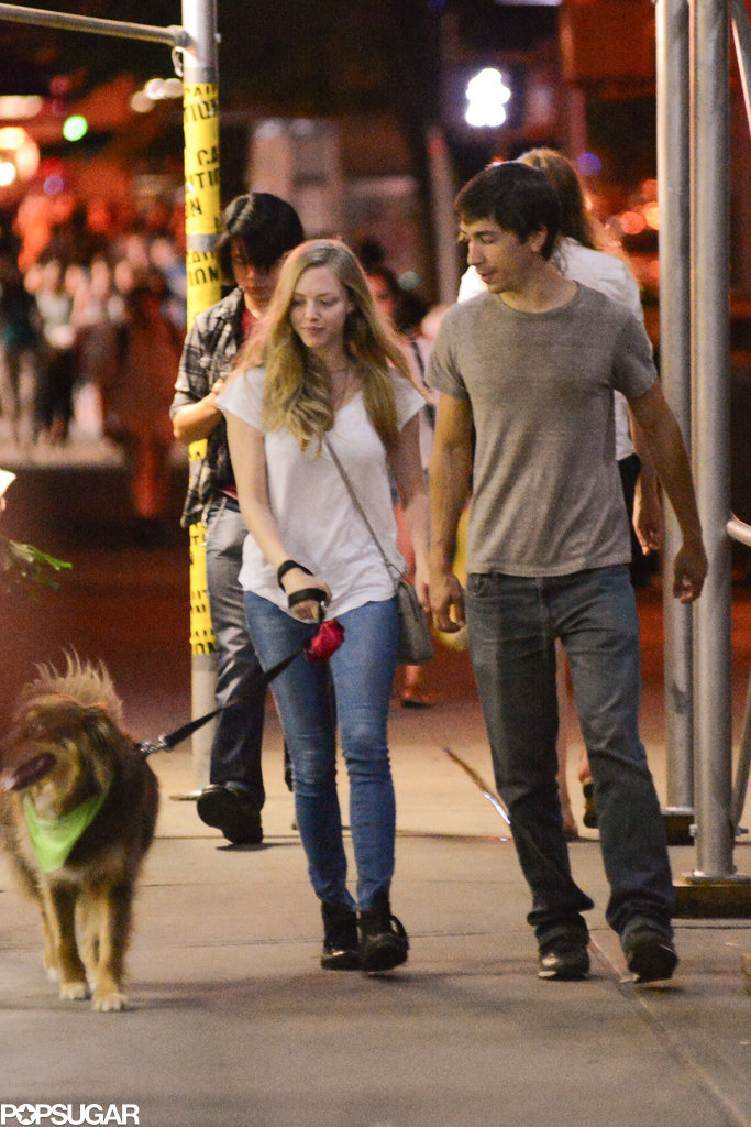 Justin Long and Amanda Seyfried stayed close for a walk in NYC.
