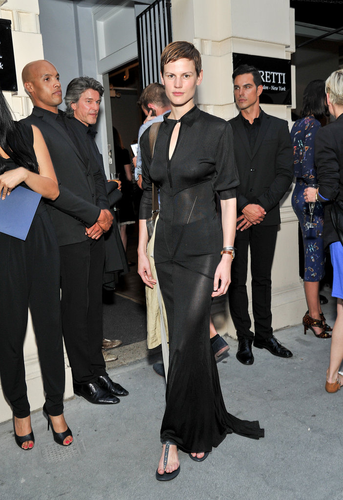 Saskia de Brauw arrived at the Harper's Bazaar Viva London Self Portrait series in a sheer black design.