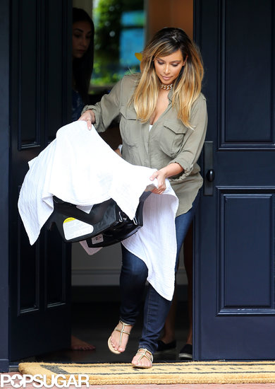 Kim Kardashian covered up North West with a blanket.