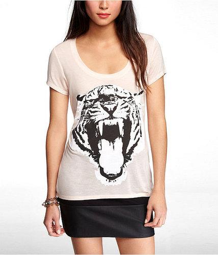 Scoop Neck Graphic Tee - Fierce Tiger