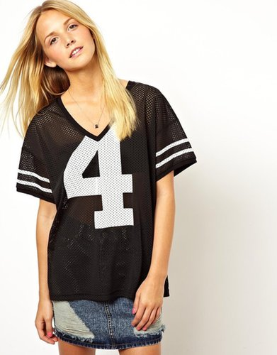 ASOS T-Shirt in Sports Airtex with V-Neck