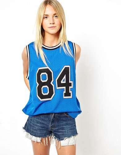 ASOS Vest in Airtex with 84 Print