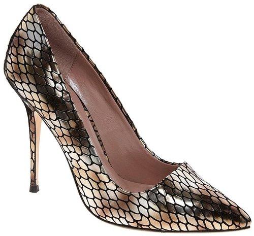 Dune Ammo Metallic Snake Print Heeled Court Shoes