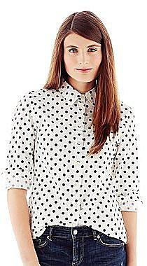 Joe FreshTM Button-Front Polka Dot Shirt