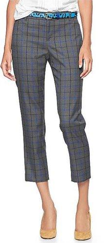 Slim cropped plaid pants