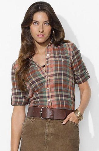 Lauren Ralph Lauren Roll Sleeve Plaid Work Shirt (Petite)