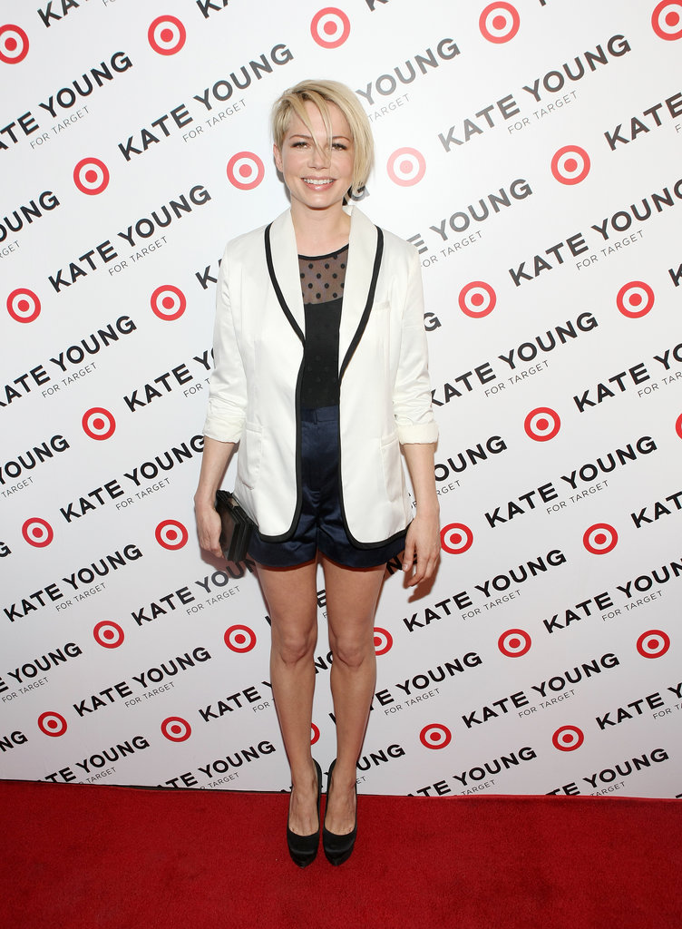 Michelle Williams wore a tuxedo jacket at the Kate Young for Target Launch in NYC in April, 2013.