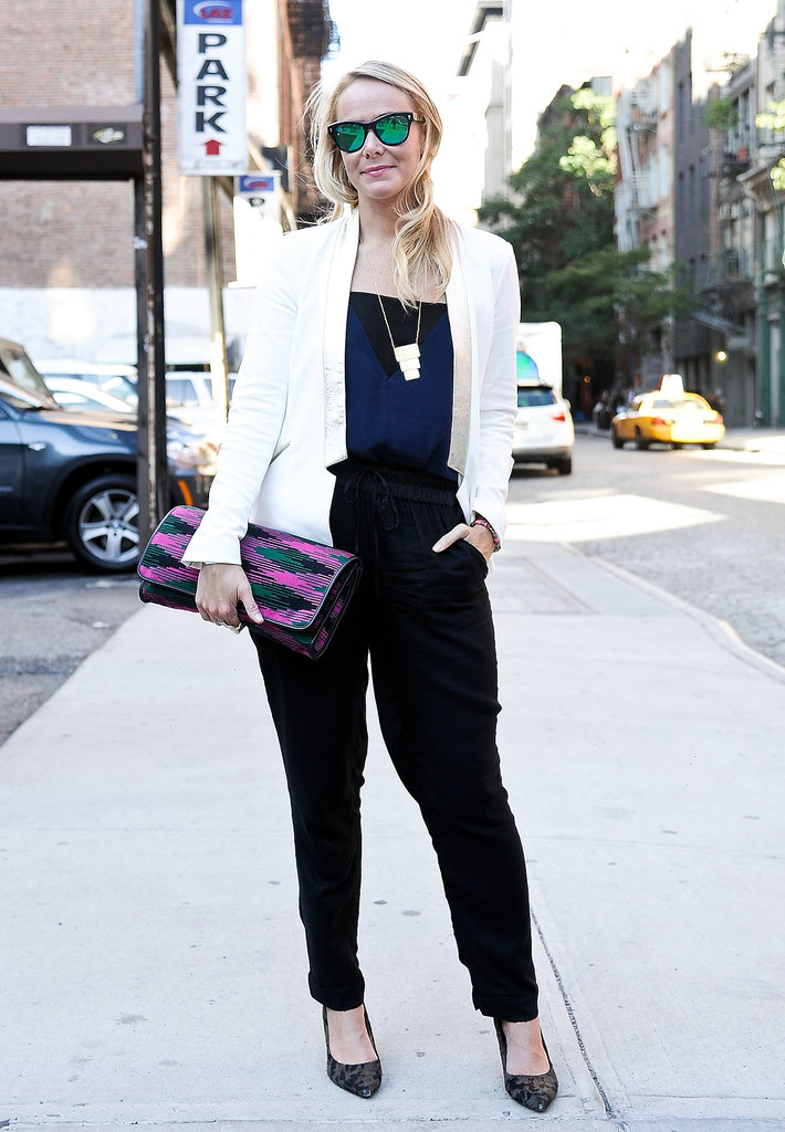 Reflective shades and a bold clutch made this look pop.