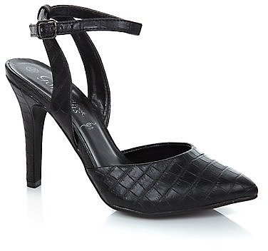 Black Croc Print Ankle Strap Pointed Court Shoes