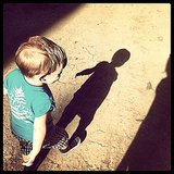 Luca Comrie had some fun with his shadow on a sunny day. Source: Instagram user hilaryduff
