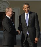 President Barack Obama greeted Russian President Vladimir Putin, the host of the G20 summit.