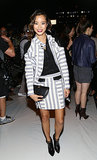 Jamie Chung brought two-toned stripes and dashes of black to the front row of Rebecca Minkoff.