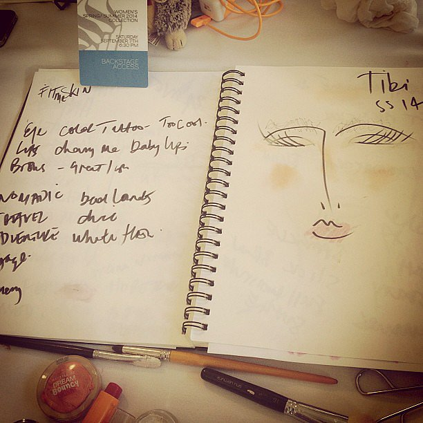 We snapped a photo of lead makeup artist Alice Lane's notebook to get even more insight into her inspiration for Tibi's show.