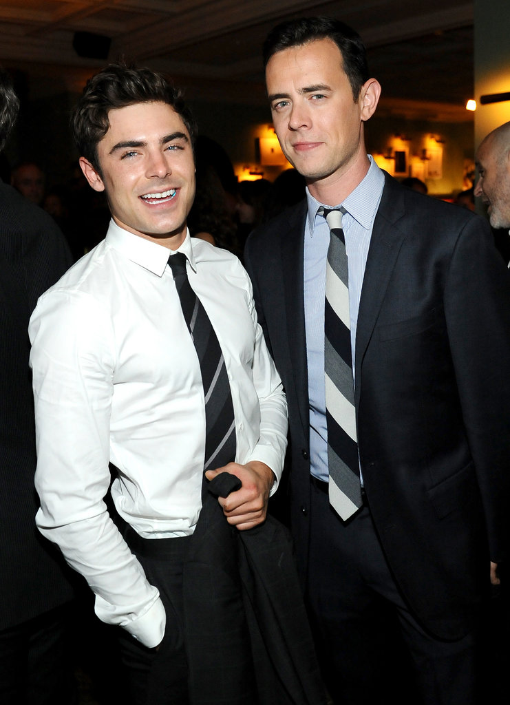 Zac Efron and Colin Hanks stuck together at the Parkland afterparty.