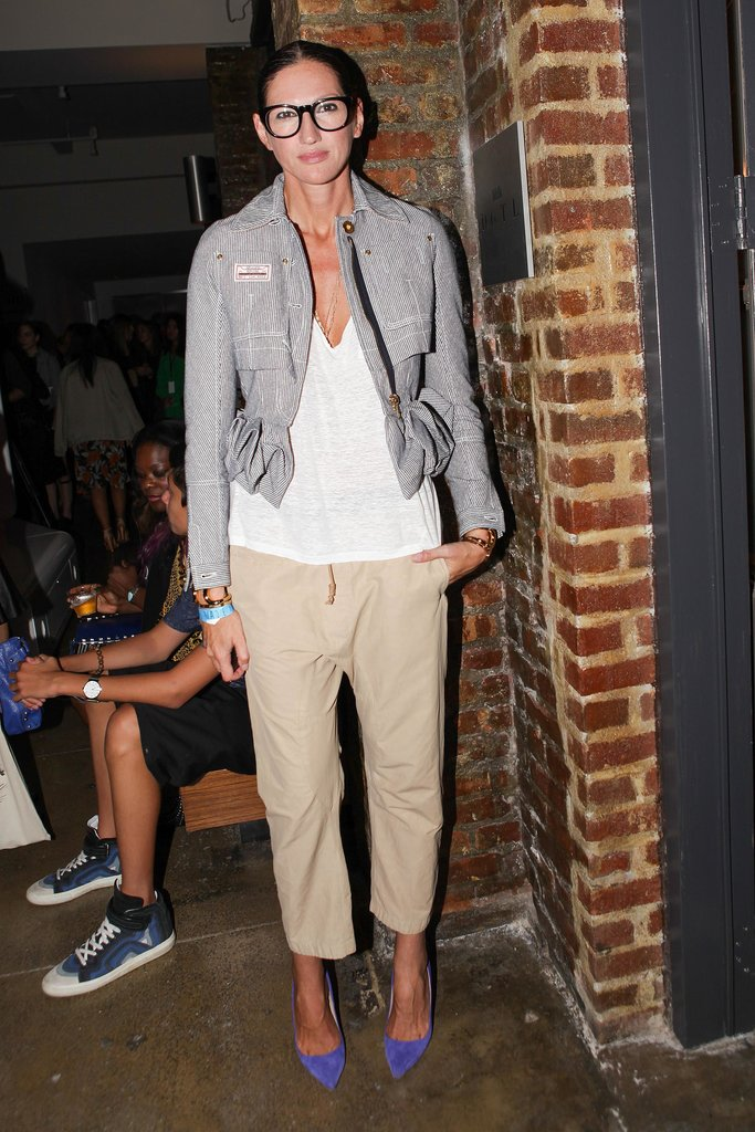 Jenna Lyons added some pop-of-color heels to her neutral ensemble at the Jonathan Simkhai presentation.