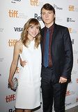 Paul Dano put his arm around his longtime girlfriend, Zoe Kazan.