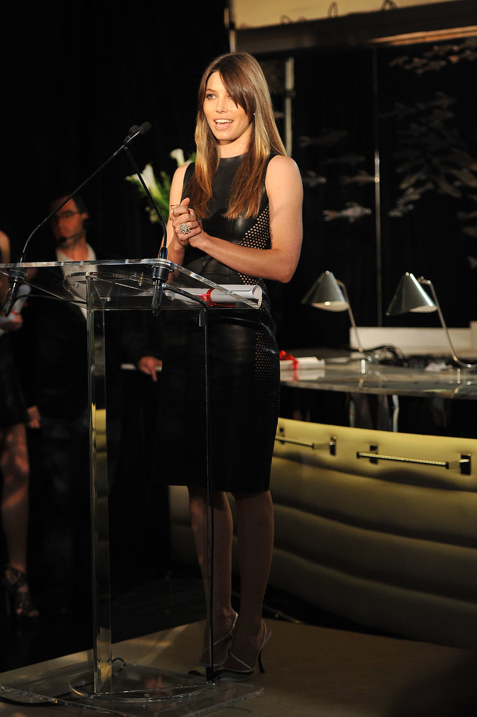 Jessica Biel presented during the Fashion Media Awards.