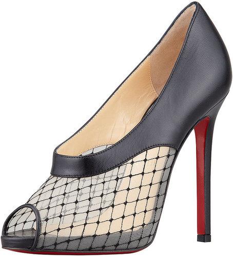 Christian Louboutin Resillana Lace-Net Peep-Toe Red-Sole Bootie, Black