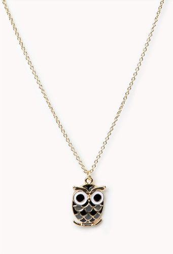 FOREVER 21 Lacquered Owl Charm Necklace