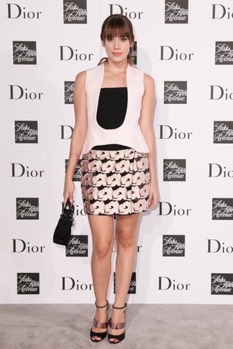 Christa B. Allen was sweet in a Dior pale pink and black bustier, strappy Dior sandals, and a Lady Dior bag.