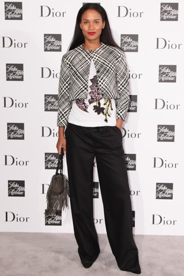 Joy Bryant took a menswear-inspired route in a Dior black-and-white jacket accompanied by a printed tee and black wide-leg trousers, both by Missoni.