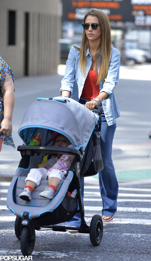 Jessica Alba took Haven for a stroll through NYC on Monday.
