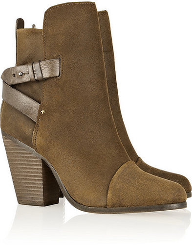 Rag & bone Kinsey leather-trimmed waxed-suede ankle boots