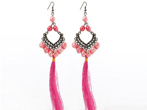 New Design Pink Style 6-7mm Pink Pearl Tassel Dangle Earrings