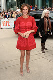 Julia Roberts reemerged in a red lace Dolce & Gabbana dress and Gucci accessories at the August: Osage County premiere.