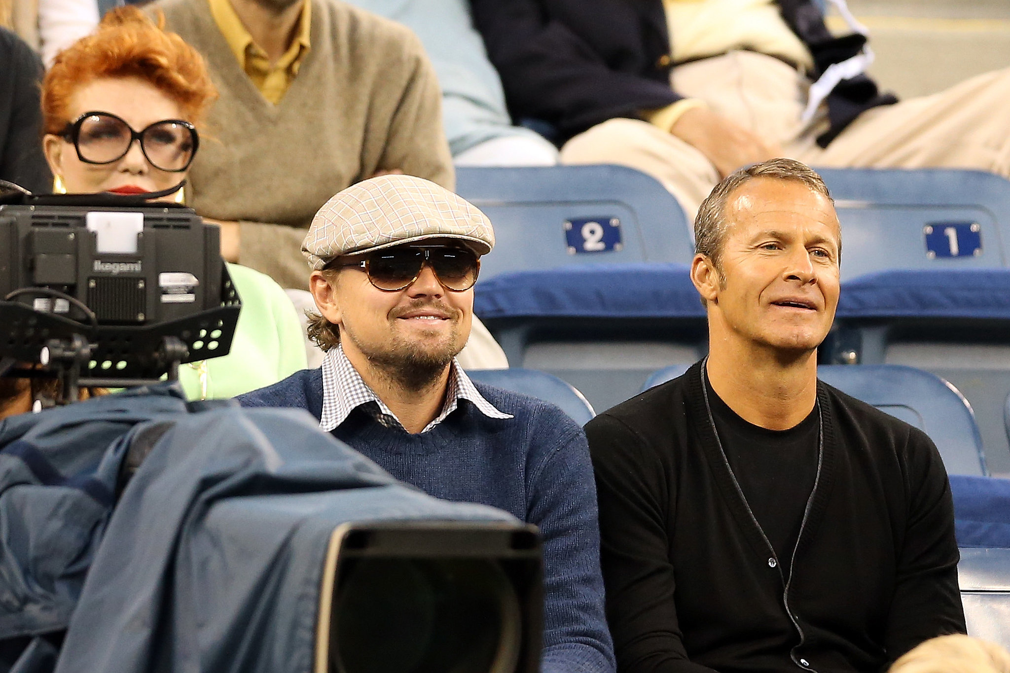 Leonardo DiCaprio flashed a smile during the US Open.