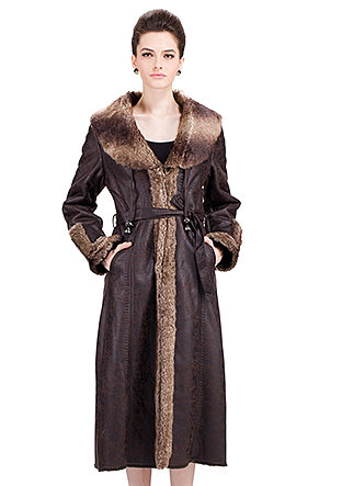 Modern Paris Series/dark brown suede with faux brown chipmunk fur/long suede coat - New Products