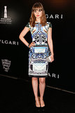 Bella Heathcote attended a Bulgari party wearing a printed Mary Katrantzou pencil dress.