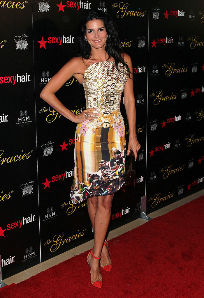 Angie Harmon slipped into a bold Mary Katrantzou cocktail dress for the 2012 Gracie Awards.