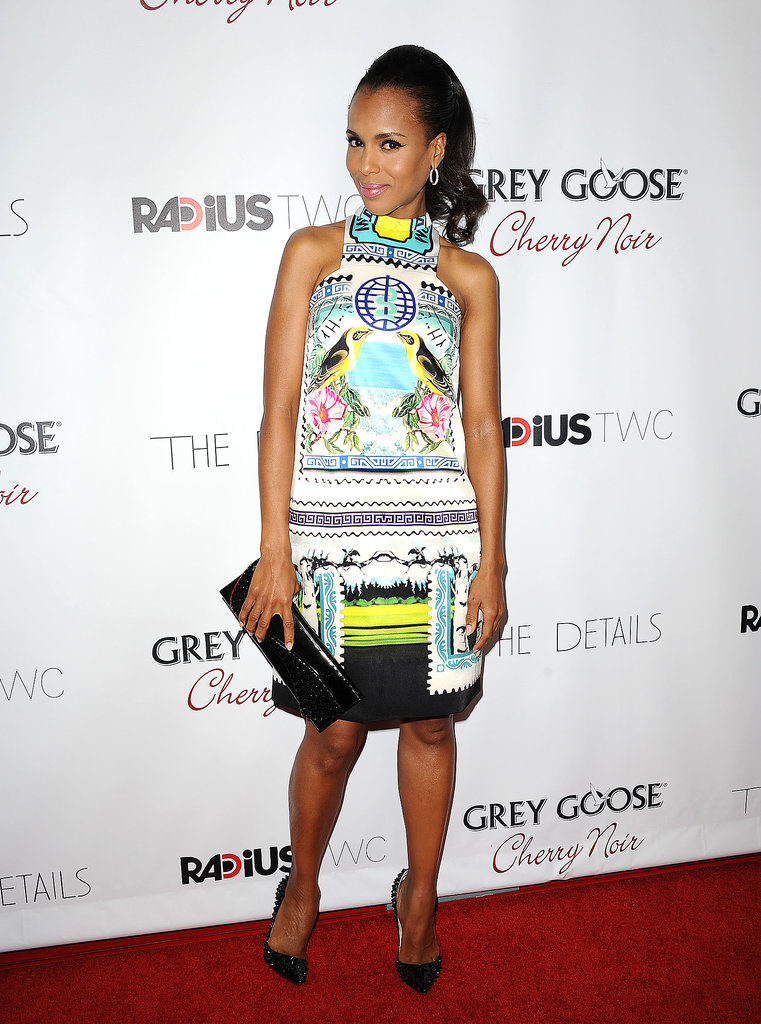 Kerry Washington opted for an intricately patterned Mary Katrantzou shift dress for the premiere of The Details in late 2012.