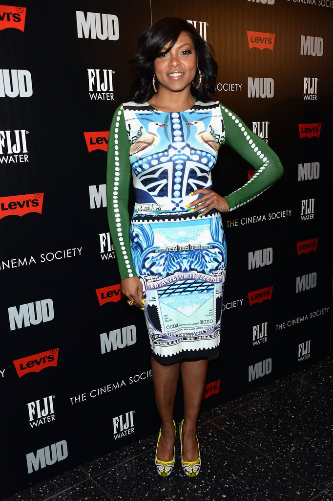 Taraji P. Henson opted for a graphic Mary Katrantzou bodycon dress at a screening of Mud.
