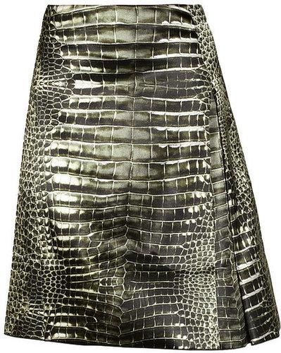 Reed Krakoff Alligator-print pleated satin skirt