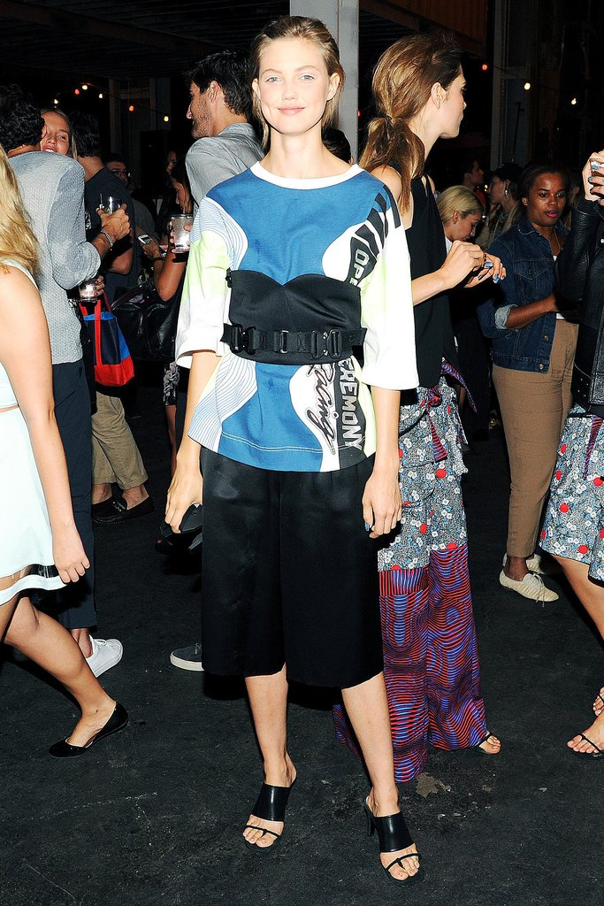 Lindsey Wixson brightened up the room at the Opening Ceremony party in a colorblock design.