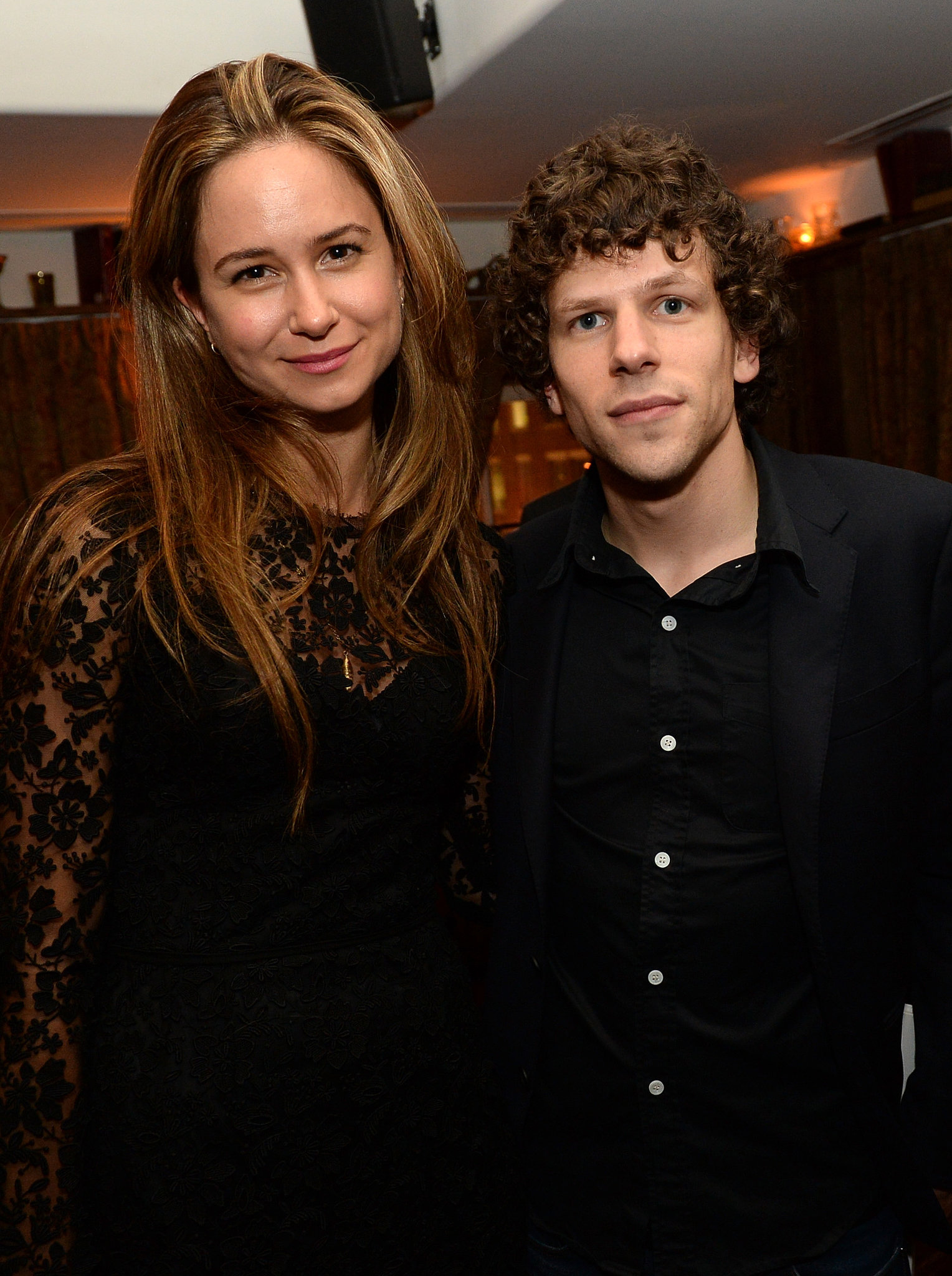 Jesse Eisenberg linked up with Katherine Waterston at the Night Moves party.