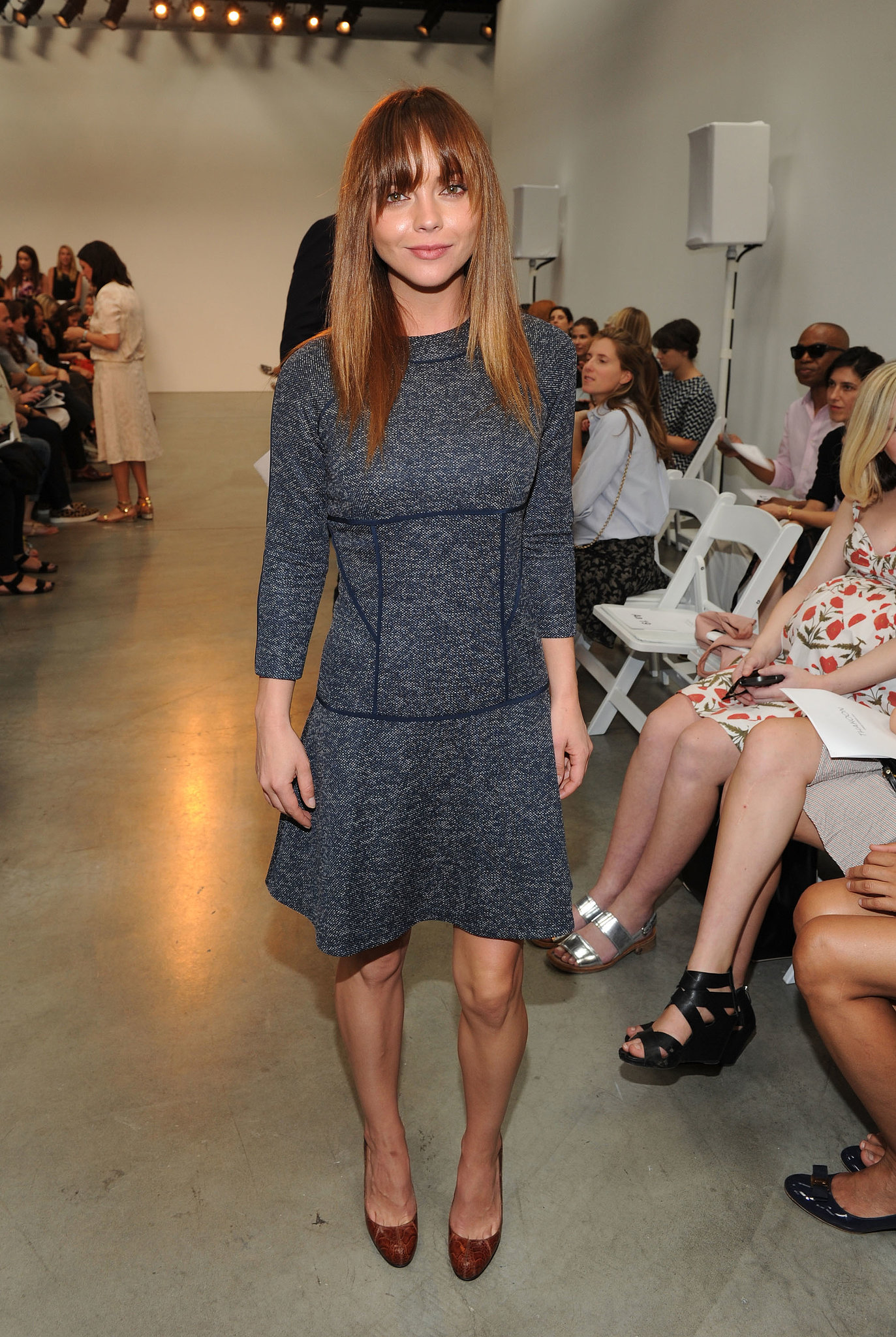 Christina Ricci got cozy with a knit dress and platform pumps at Thakoon.