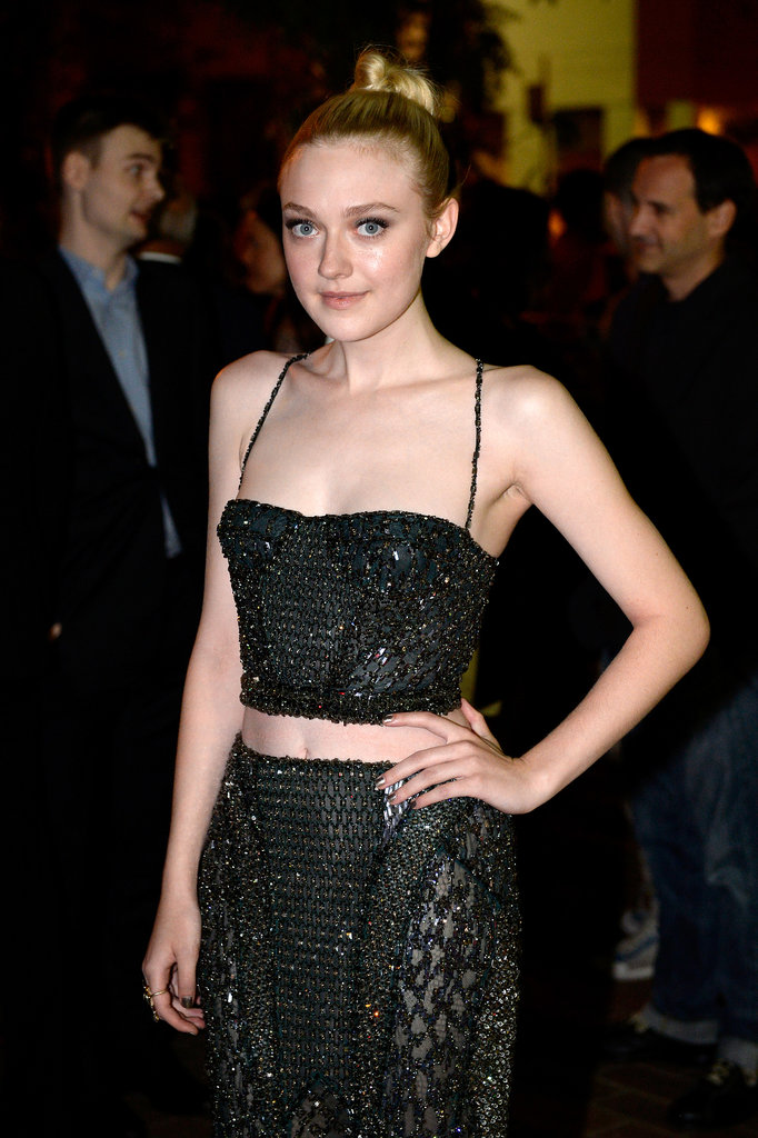 A high topknot was the highlight of Dakota Fanning's look at the Night Movies premiere.