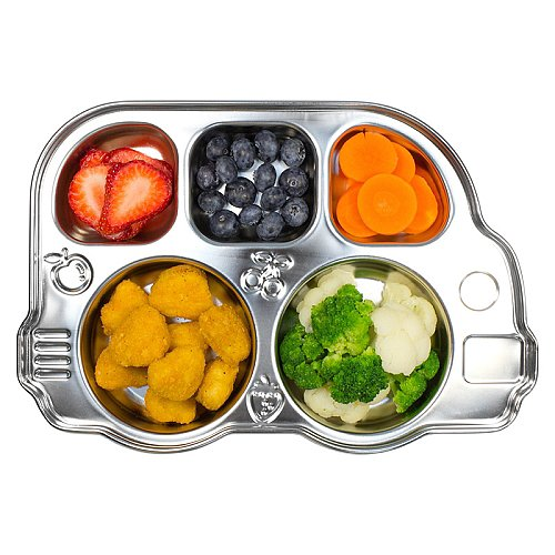 Not only is Innobaby's stainless divided bus platter ($20) an adorable way to separate components of your kids' meals, but it also comes with a plastic lid for easy portability.