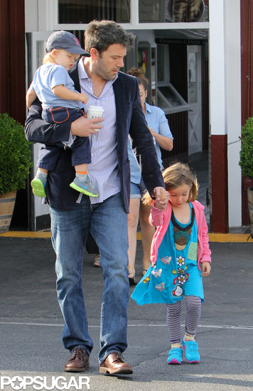 Ben Affleck held Seraphina's hand as they walked through the parking lot.