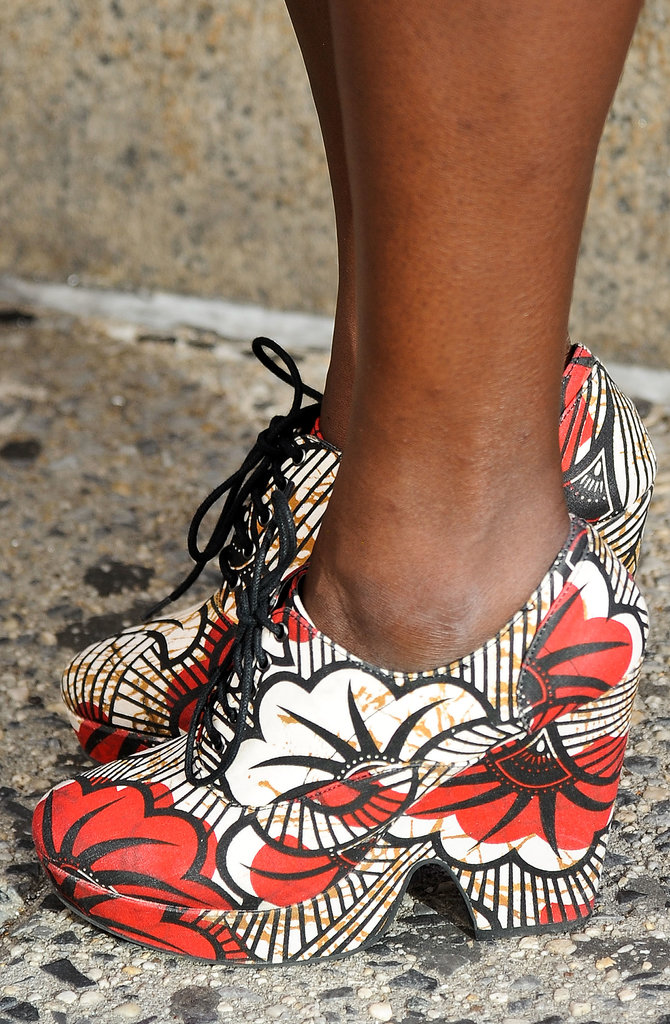 A sensible shoe that packed a major printed punch.